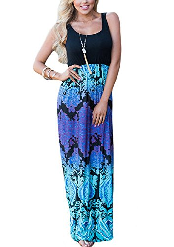 - O&W Striped Zig Zag Scoop Neck Chevron Print Tank Maxi Long Dress For Women (M, Blue Purple Aqua)