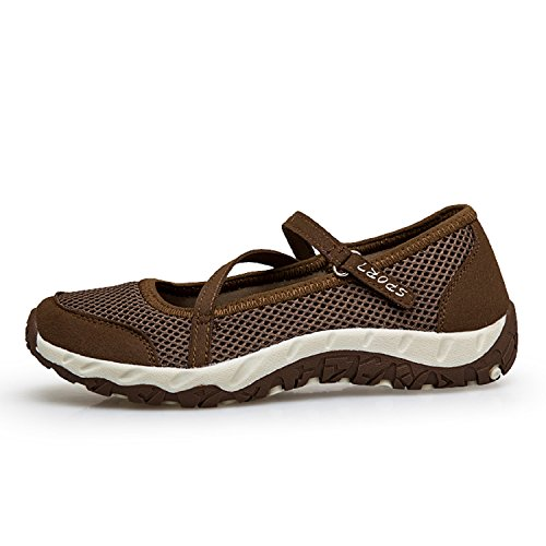 Cómodos Calzado Ligero Velcro De Zapatillas Para Caminar H mastery Casuales Malla Verano Mujer Transpirable Con Marrón Zapatos Deportivo pqqvOxa