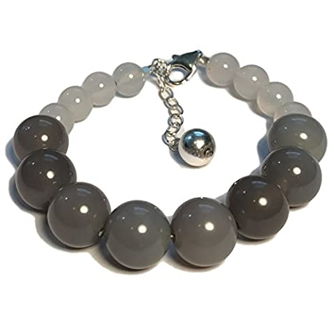 Gratitude Bead Bracelet: Dream Edition - Grey Agate Natural Gemstones and Sterling Silver Charm - Grey Agate Stone