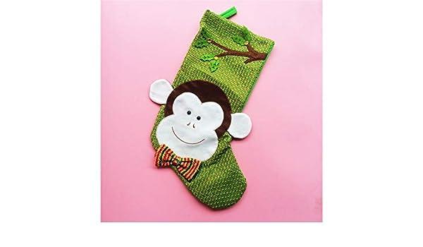 50cd8e88 Amazon.com: Yunqir Monkey Shape Christmas Stockings Candy Bag Gift Bag  Christmas Tree Pendant(Green): Home & Kitchen