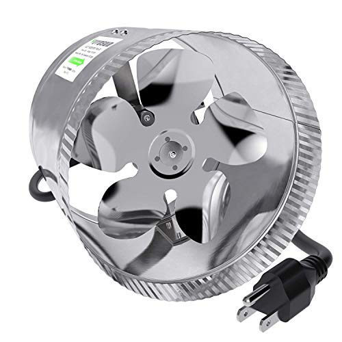 VIVOSUN 8 inch Inline Duct Booster Fan 420 CFM, Low Noise & Extra Long 5.5' Grounded Power Cord ()