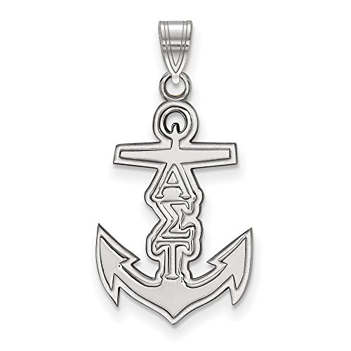 925 Sterling Silver Officially Licensed Alpha Sigma Tau Small Pendant (27 mm x 14 mm)