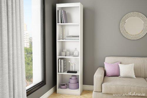 South Shore Axess Collection 5-Shelf Narrow Bookcase, Pure White