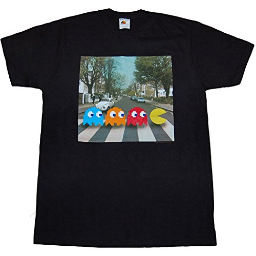 Pac-Man Abbey Road Crossing Beatles Parody Black T-Shirt for Men. S to XXL