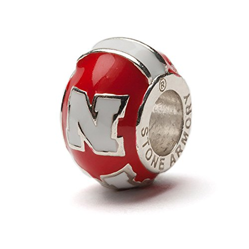 University of Nebraska Bead Charm | Nebraska Jewelry | Nebraska Huskers Stainless Steel Charm | Officially Licensed by University of Nebraska | Fits Most Popular Charm Bracelets Nebraska Huskers Stainless Steel