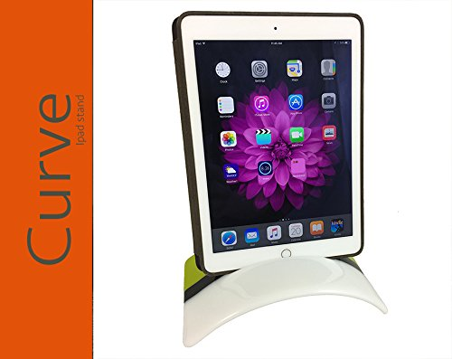CURVE STAND for iPad/tablet, Fused Glass Tablet Holder (iPhone, iPad, Kindle Fire, Samsung Edge and Galaxy), Lemongrass, White with Black Tabs