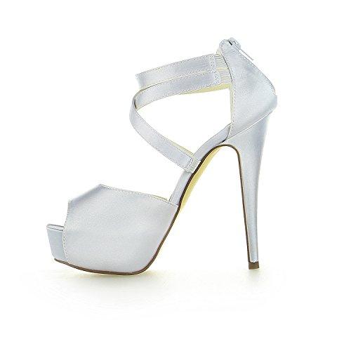 JIA JIA Chaussures de Mariée Pour Femme 20123 Peep Toe Talon Aiguille Plate-Forme en Satin des Sandales Chaussures de Mariage Argent nVNyIi57X