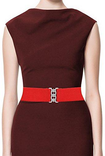 LUNA Fashion 2 Inch Elastic Cinch Belt - Solid Medium - Red