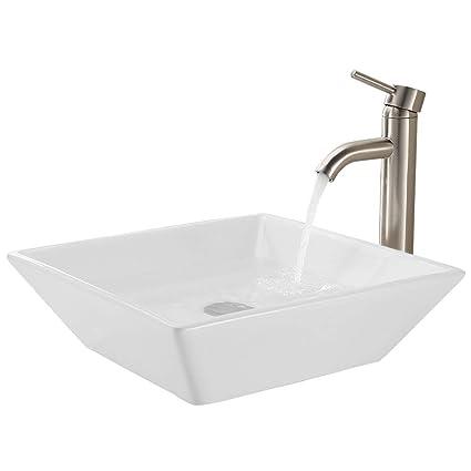 KES Bathroom Rectangular Porcelain Vessel Sink Above Counter White ...