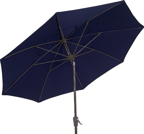 Umbrella Market Fiberbuilt (FiberBuilt Umbrellas Terrace Umbrella with Push-Button Tilt, 9 Foot Navy Canopy and Champagne Bronze Pole)