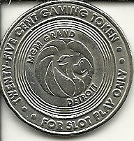 - $.25 mgm grand casino token gaming coin detroit michigan obsolete