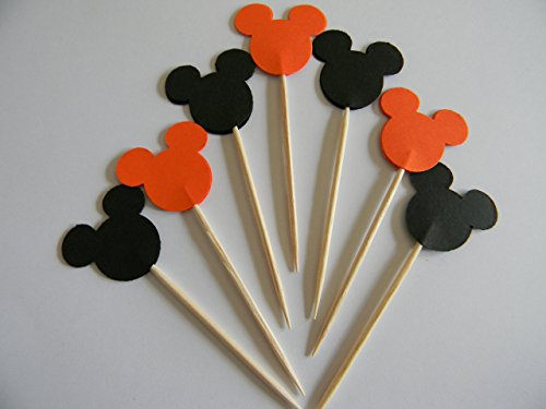 24 Mickey Mouse Mixed Orange and Black inspired cupcake toppers food picks Halloween party décor -
