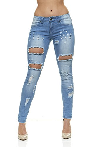 V.I.P.JEANS Ripped Jeans for Women Distressed Skinny Jeans for Women Mid Rise Junior Size 11 Classic Light Blue Wash (Low Rise Mid Rise Jeans)
