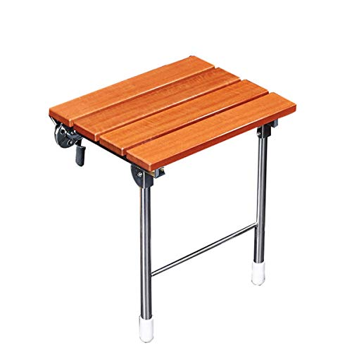 Folding Shower Seat Wall Mount Bench Fold Down Stainless Steel Brackets Teak Wood and Aluminum Modern Fold Up Bathroom Stool Foldaway Seating Chair