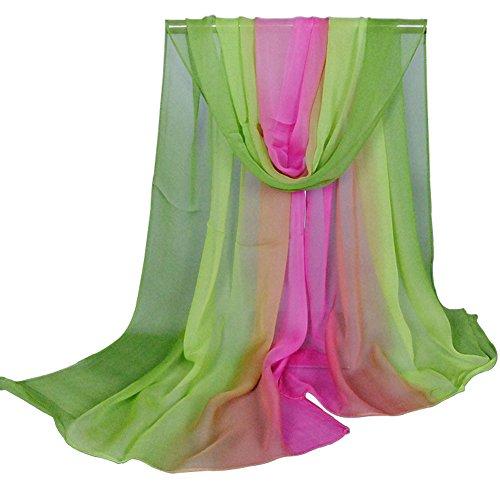 Alysee Women Charming Silk Georgette Long Scarf Head Hair Wrap Gradient Color Apple Green&Fuchsia