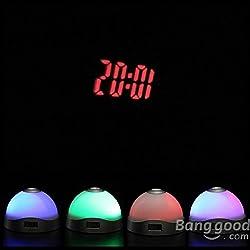 Hiquty Color Change Alarm Clock Time Projection LED Clock Flash Light Snooze Alarm Cloc
