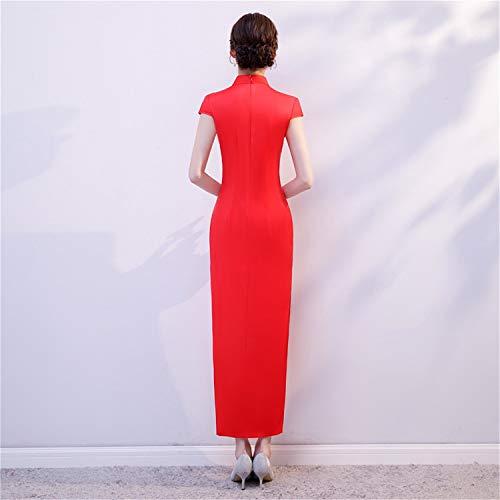 Floreale Qipao Da Maniche Vestito Donna Cinese Splento A Cheongsam Lungo Corte Pink gqf8SWOR
