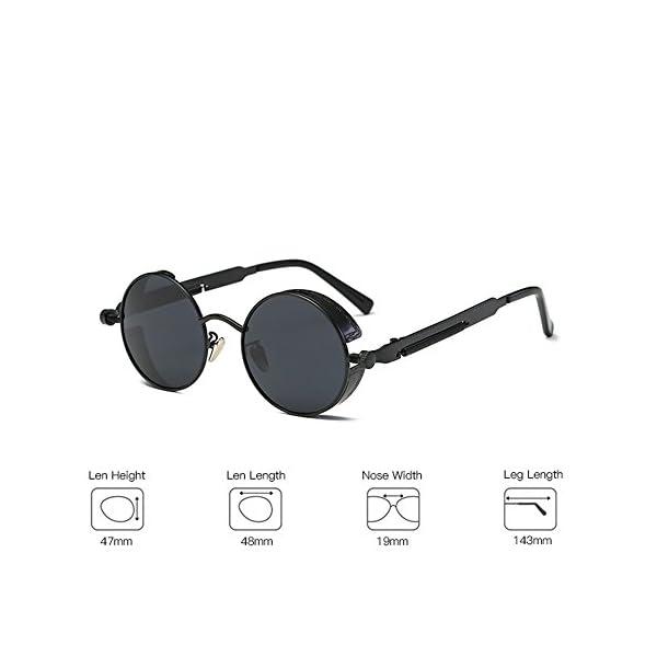 VeBrellen Gothic Hippie Retro Round Circle Frame Cyber Polarized Steampunk Sunglasses 5
