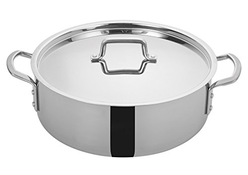 Winco TGBZ-14, 14 Quart Tri-Gen Tri-Ply Stainless Steel Brazier, with Mirror Finish Exterior and Satin Finish Interior, Commercial Grade Braiser Pan by Winco