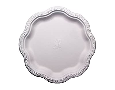"Bagasse - Natural Sugarcane Fibers Acanthus Collection Ten (10"") Inch (In) Disposable Floral Patterned Premium Plates 100% Natural By-Product Eco Friendly Environmental Paper Alternative Tree Free"