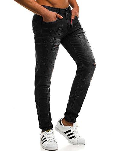 OZONEE Hombre Pantalones Vaqueros Pantalón Chándal Pantalones Deportivos Pantalones de Ocio Pantalón chándal Jogger Otantik 1805 Negro _ Catch-3009