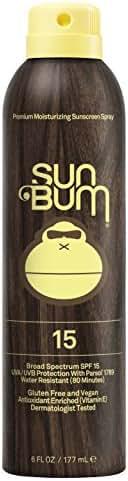 Sun Bum Original Moisturizing Sunscreen Spray SPF 15 | Reef Friendly Broad Spectrum UVA / UVB | Water Resistant Continuous Spray with Oil-Free Protection | Hypoallergenic, Paraben Free, Gluten Free | SPF 15 6oz Bottle