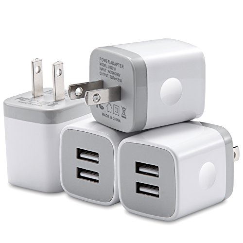WITPRO USB Wall Charger, 4-Pack 2.1A Dual Port USB Power Adapter Wall Charger Plug Charging Cube Compatible with iPhone X/8/7/6 Plus 5S/4S, iPad, Samsung, LG, Moto, HTC, Android Phones (White) by WITPRO