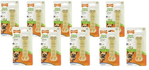 (10 Pack) FlexiChew Chicken Flavored Bone- Size Petit