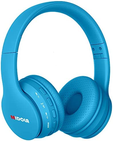 Midola Volume Limited 85dB /96dB Kids Headphone Bluetooth Wireless Over Ear Foldable Stereo Noise Protection Headset with AUX 3.5mm Cord Mic for Boys Girls Cellphone Ipad Tablets TV PC Blue