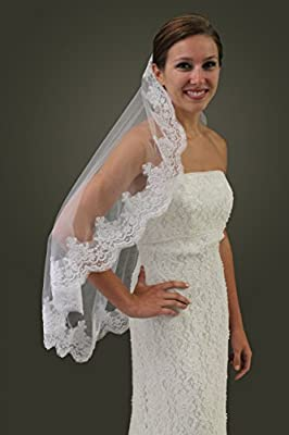Alencon Lace One Tier Bridal Wedding Veil