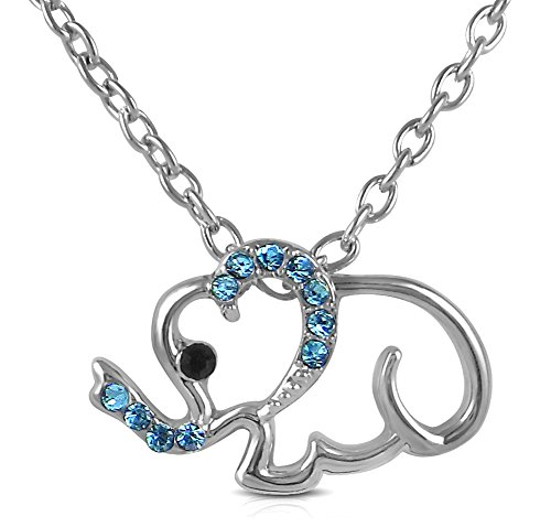 Adorable Little Lucky Baby Elephant Outline Charm Silver Tone Necklace Choose Pink, Purple or Clear (Aqua (Karma Events Halloween)