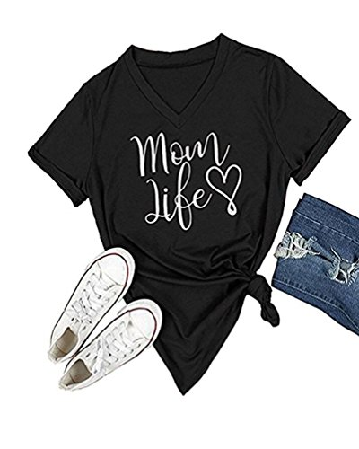 DANVOUY Summer Womens T-Shirt Casual Cotton Letters Printed Graphic Tees Short Sleeve V-Neck Tops Black ()
