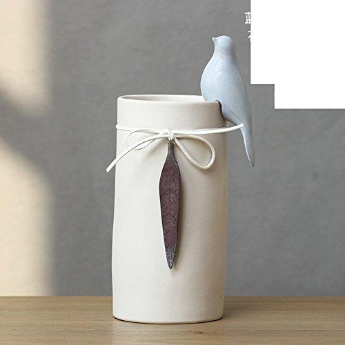 DIDIDD Decoraciones-jarrones de cerámica de aves de jardín fresco muestran decoraciones de flores de simulación de tabla...