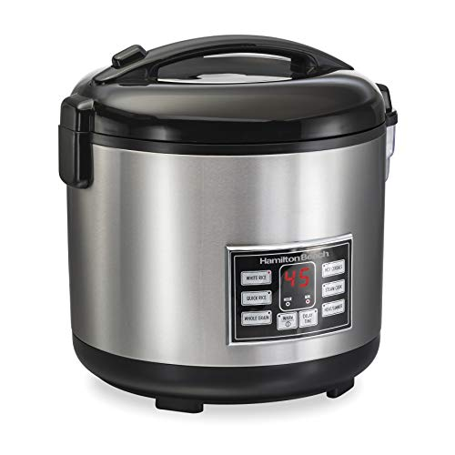 (Hamilton Beach (37543) Rice Cooker, 10 Cups uncooked resulting in 20 Cups Cooked with Steam & Rinse Basket)