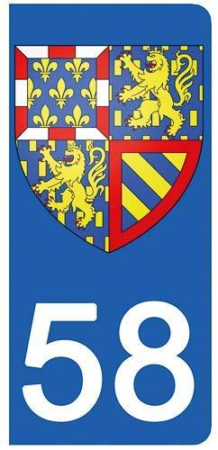 DECO-IDEES Lot de 2 Stickers pour Plaque d'immatriculation, 58 Nièvre - Bourgogne Franche Comté 58 Nièvre - Bourgogne Franche Comté