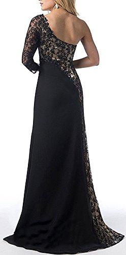 Lungo Splicing Banchetto Fit Senza Spalline Abiti Sera Partito Eleganti Da Donna Nero Vestito Schienale Cerimonia Estivi Abito Slim Vestiti Retro Spacco Pizzo tnq8fTvw
