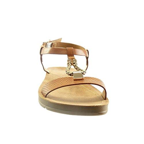 Angkorly Women's Fashion Shoes Sandals - t-Bar - Open - Snakeskin - Braided - Metallic Wedge Platform 2 cm Camel 2kurvjzoN