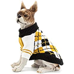 Scheppend Dog Pullover Jumpers Sweater Knit Pet Argyle Turtleneck Knitwear Winter Warm Coat, Yellow L