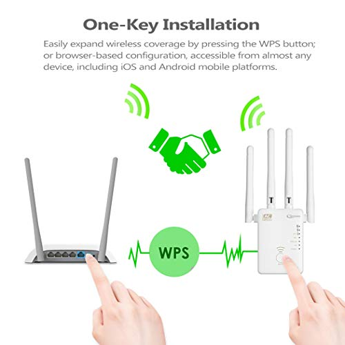 Qoosea WiFi Extender Repeater/AP / Router AC1200 Dual Band Wireless Signal Range Booster with 4 External 3dBi Antennas Compatible with Smart Home & Alexa Devices, White by Bobstore (Image #4)