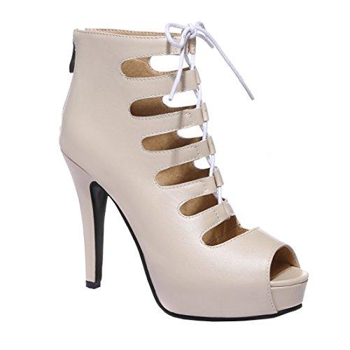 ... YE Damen Offene High Heels Schnür Sandalen Sommer Ankle Boots Cut Out  Pumps Plateau 8cm Absatz ... c5389bf151