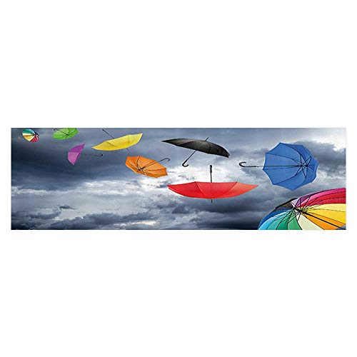 (Leigh R. Avans Background Fish Tank Sticker Parasols Foreground of Dark Cumulus Rain Clouds Windy Stormy Shield PVC Aquarium Decorative Paper 23.6