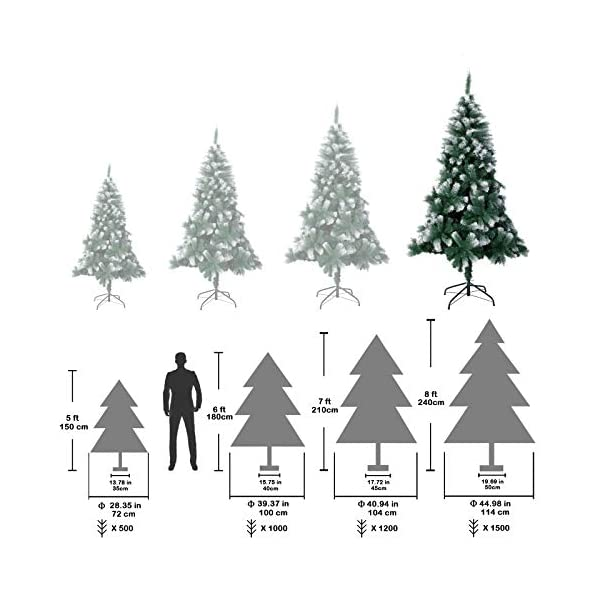 TopVita Albero di Natale Bianco Verde, Albero di Natale Artificiale in PVC Ignifugodi in Diverse Misure (Verde e Bianco, 2,4 Metri) 5 spesavip