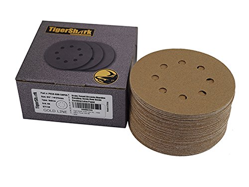 TigerShark 5 Inch Sanding Discs 8 Hole Grit 80 50pcs Pack Special Anti Clog Coating Tigershark Paper Gold Line Hook and Loop Dustless Random Orbital Sander Paper Coarse