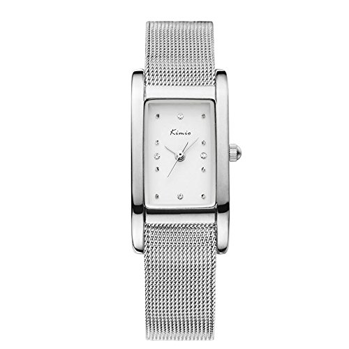 Luxury Casual Rhinestone Square Dial Mesh Shaped Stainless Steel Band Women Quartz - Face Square Shaped