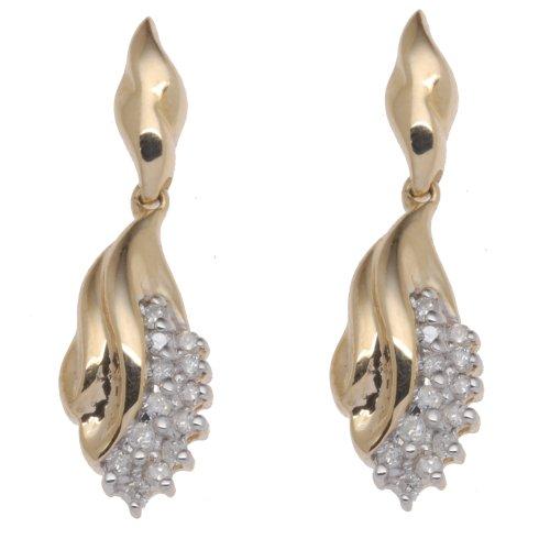 Boucles d'Oreilles Pendantes Femme - E-11062 - Or jaune (9 cts) 3 Gr - Diamant 0.22 Cts