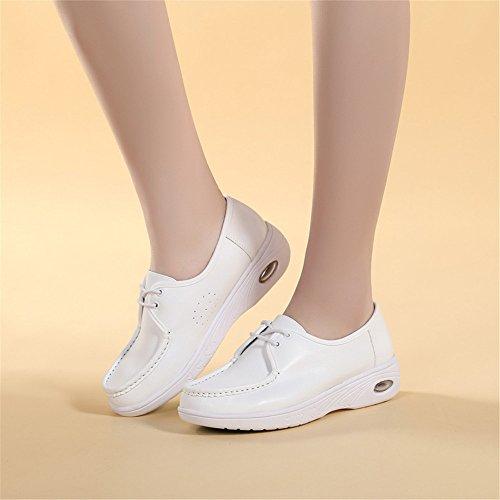 Cuero Primavera Redonda Blanco Acolchado Antideslizante Cabeza Y Enfermeras Casual Zapatos La Trabajan El Calzado Otoño Xzgc Transpirable De 0H8Fx8
