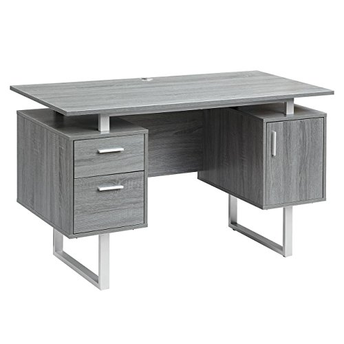 Techni Mobili RTA-7002-GRY Modern Office Desk with Storage Gray
