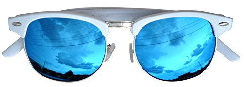 Vintage Retro White Silver Metal Half Frame Sunglasses Blue Mirror - White Sunglasses Frame Blue Lens