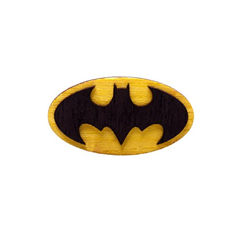 Waf-Waf Batman Logo Yellow and Black Lapel Pin DC Comics Wood Style Brooch for Suit, Shirt, Cap or (Original Batman Suit)