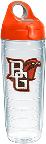 Tervis 1231969 Bowling Green Falcons Logo Insulated Tumbler with Emblem and Orange Lid 24oz Water Bottle Clear